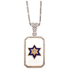 Men's Diamond and Enamel Double Sided Dog Tag Star Pendant