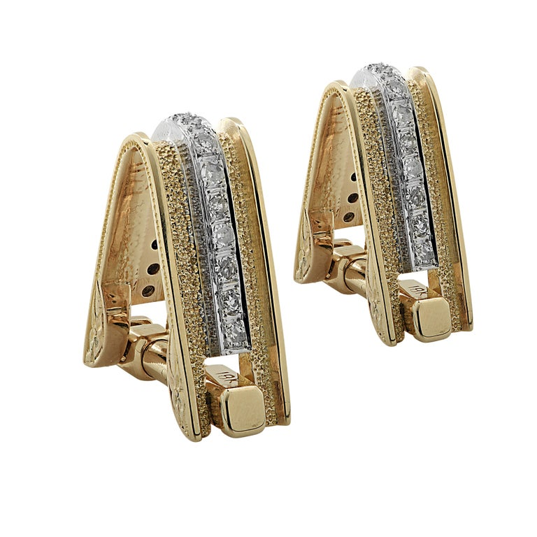 Modern Men's Diamond and Gold Cufflinks For Sale