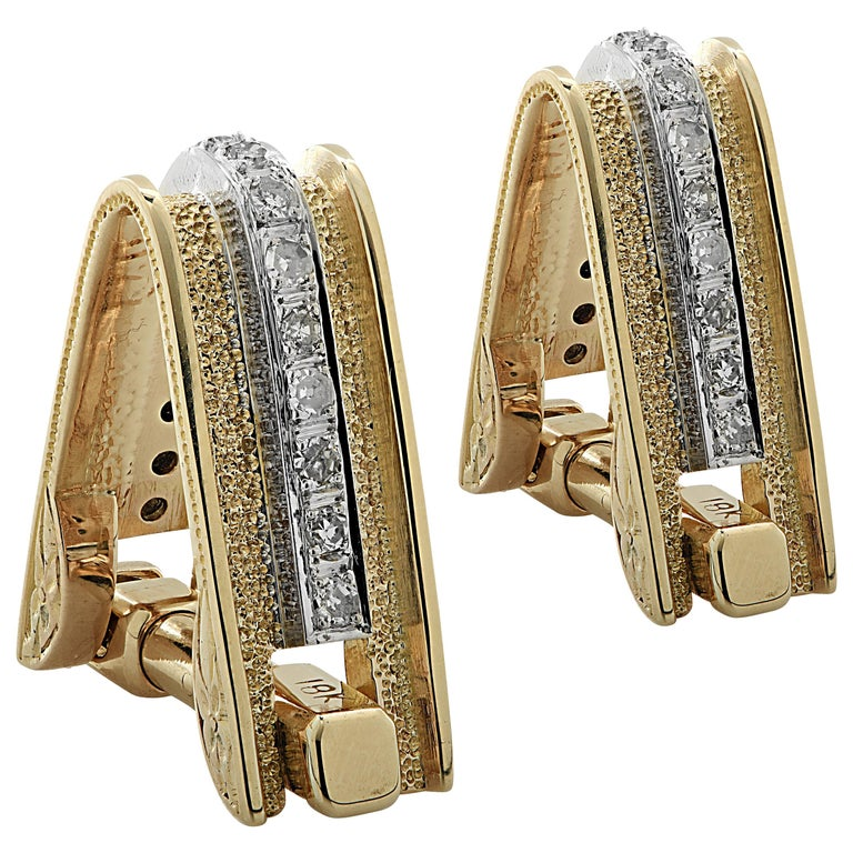 Men's Diamond and Gold Cufflinks For Sale