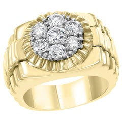 Men's Diamond Cluster Ring Brilliant Round Cut 1.5 Carat 7-Stone 18 Karat Gold