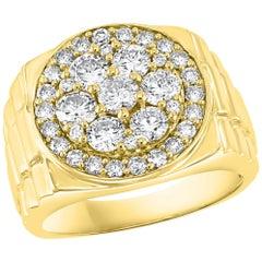 Men's Diamond Cluster Ring Brilliant Round Cut 2 Carat 14 Karat Yellow Gold