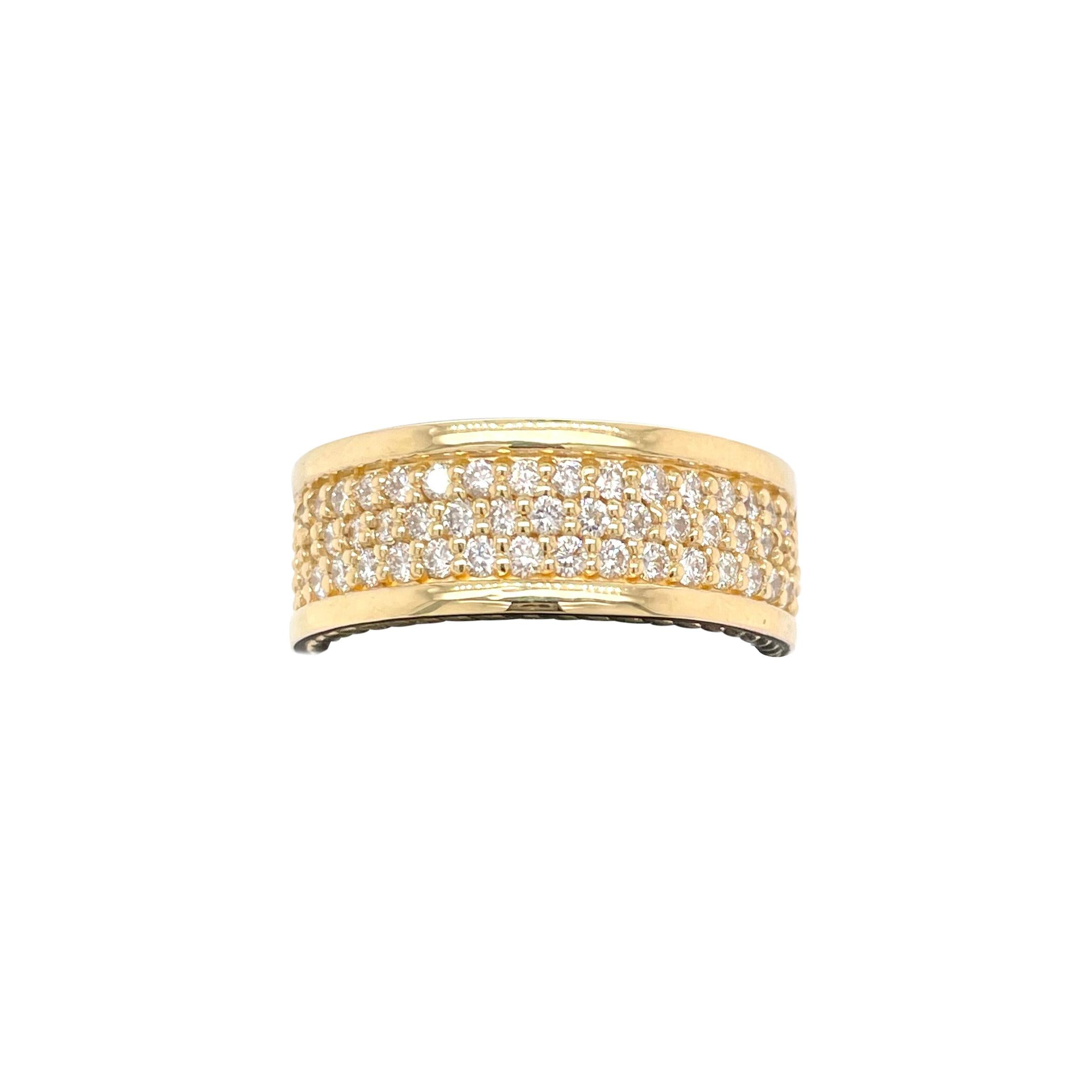 Mens Diamond Pave 18K Yellow Gold Wide Band