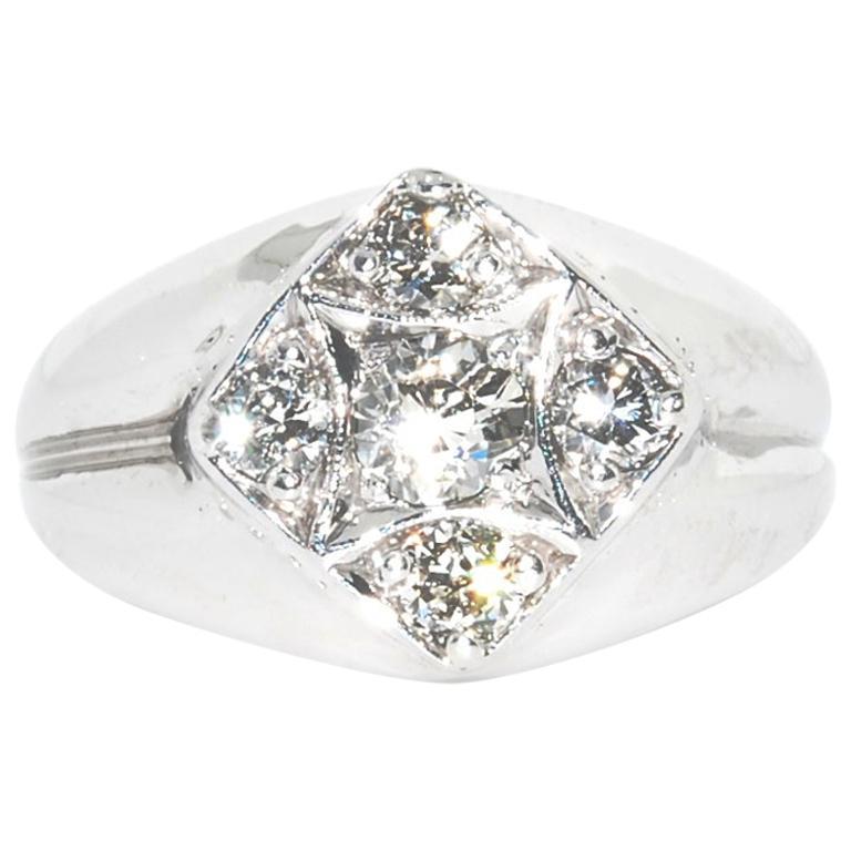 ab2cd55fa9c42 Men's Diamond Pinky Ring in 14 Karat White Gold