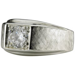 Men's Diamond Ring 1 Carat circa 1950s Sleek and Sophisticated
