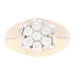 Men's Diamond Ring, 14 Karat Yellow Gold Cluster Round Brilliant 1.00 Carat