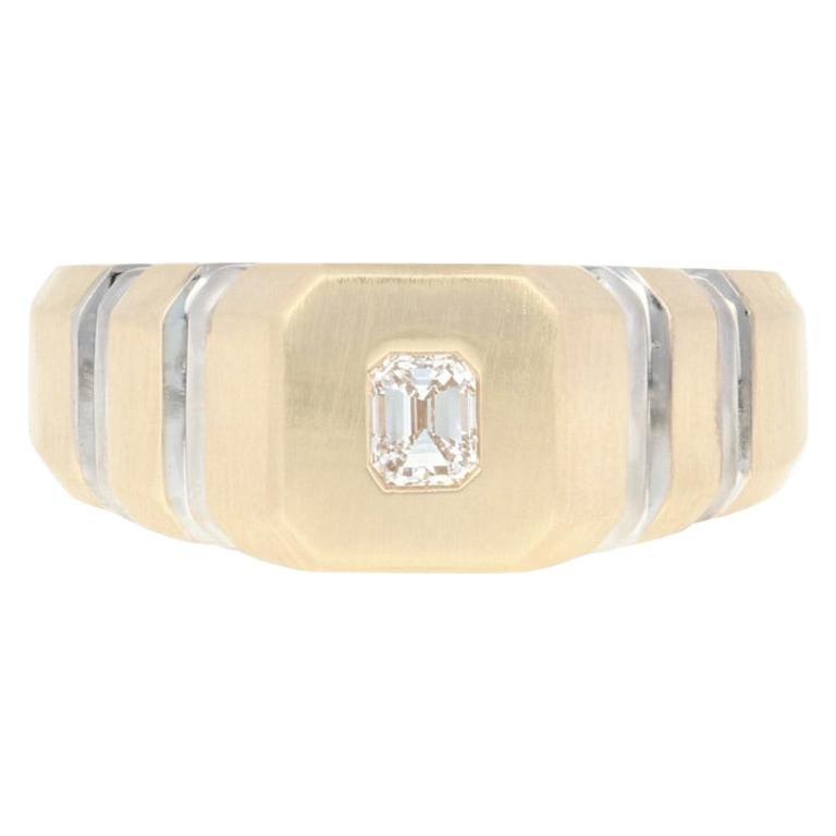Men's Diamond Ring, 14 Karat Yellow Gold Matte VVS2 Emerald Cut .25 Carat