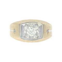 Men's Diamond Ring, 14 Karat Yellow Gold Round Cut .58 Carat