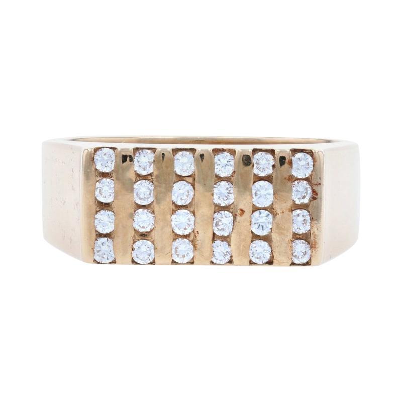 Men's Diamond Ring, 14k Yellow Gold Geometric Round Cut .50ctw