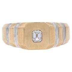 Men's Diamond Ring, 14k Yellow Gold Matte VVS2 Emerald Cut .25ct