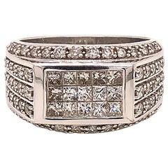 Men's Diamond Ring, 2.00 Carat of Invisible Set Princess Cut and Round Diamonds