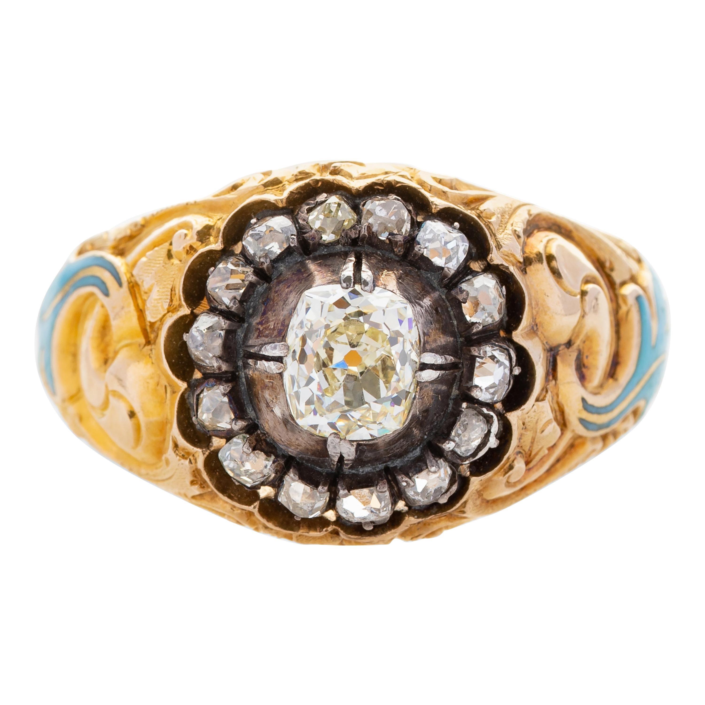 Men's Diamond Ring, circa 1850s, Russia