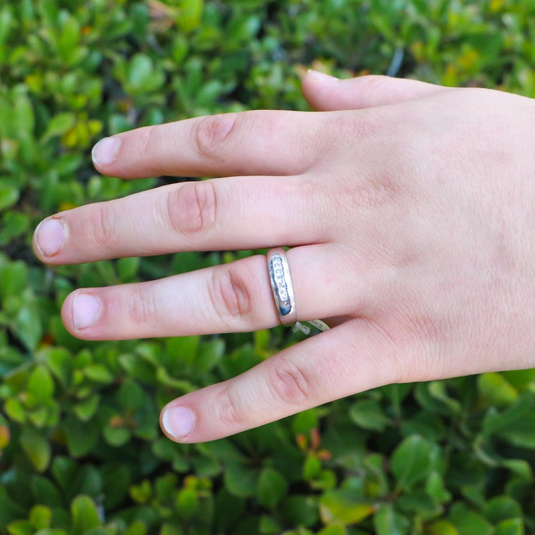 Apart of the wide variety of jewelry we have for sale. This ring has a bold yet refined style, its diamonds attract on lookers without being overbearing. This ring can work as a wedding band or as an accessory to any outfit, this rings versatility
