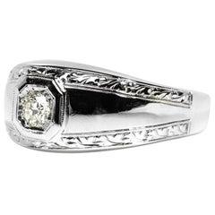 Men's Diamond Ring Understated Art Deco Elegance