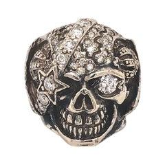 Men's Diamond Skull Ring in 14 Karat White Gold, 1.34 Carat