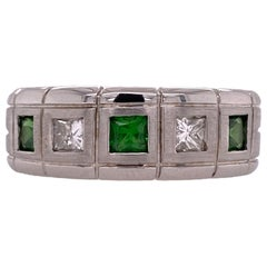 Men's Diamond Tsavorite 14 Karat White Gold Band Ring Princess Cut Diamonds