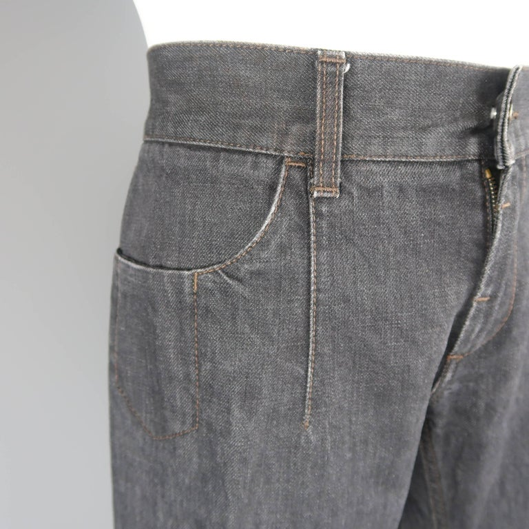 Men's DOLCE & GABBANA Size 32 Charcoal Raw Denim Brown Suede Patch Jeans In Good Condition For Sale In San Francisco, CA