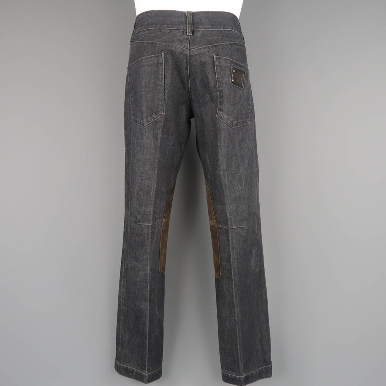 Men's DOLCE & GABBANA Size 32 Charcoal Raw Denim Brown Suede Patch Jeans For Sale 3