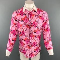 faea50fa259 Men s DOLCE   GABBANA Size M Pink Floral Linen Button Up Long Sleeve Shirt