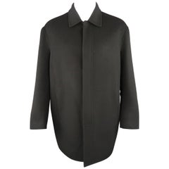 Men's DONNA KARAN M Black Solid Wool / Nylon Hidden Placket Car Coat