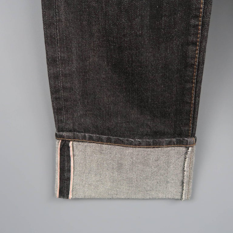 Men's DSQUARED2 Size 32 Black Distressed Wax Coated Selvedge Denim Jeans For Sale 2
