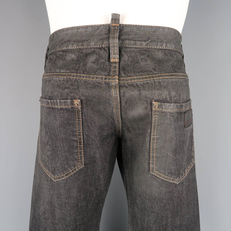 Men's DSQUARED2 Size 32 Black Distressed Wax Coated Selvedge Denim Jeans For Sale 4