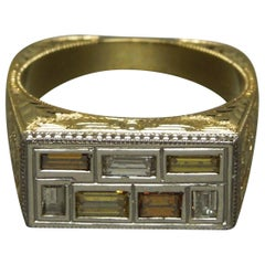 Men's Egyptian Sarcophagus 18 Karat Platinum Diamond Ring