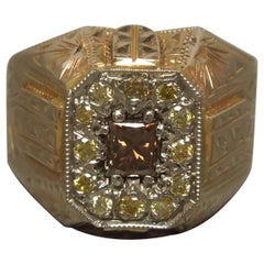 Men's Egyptian Volcanic Diamond Pyramid Ring