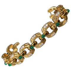 Men's Emerald and Diamond Bracelet