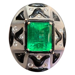 Men's Emerald and Enamel Ring