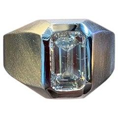 Men's Emerald Diamond Solitaire Ring