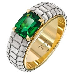 Men's Emerald Ring, 18k White & Yellow Gold Emerald & Diamonds Ring