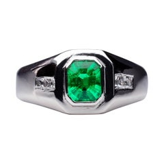 Men's Emerald Ring with Diamonds in Platinum Exceedingly Rare and Fine Color