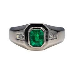 Men's Emerald Ring with Diamonds in Platinum