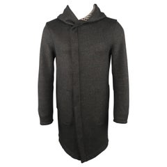 Men's EMPORIO ARMANI 36 Charcoal Wool Blend Hooded Coat