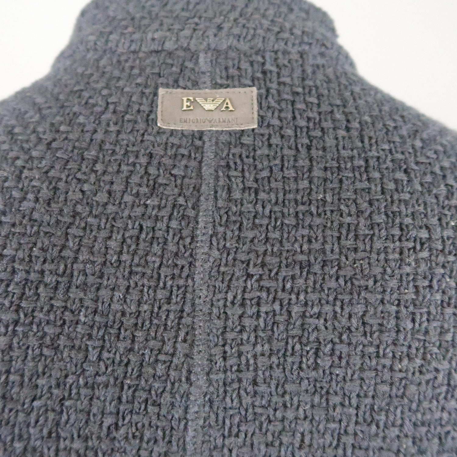 cdcc0e4d622ab6 Men's EMPORIO ARMANI XL Navy Tweed Cotton Blend High Collar Jacket For Sale  at 1stdibs