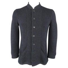 Men's EMPORIO ARMANI XL Navy Tweed Cotton Blend High Collar Jacket