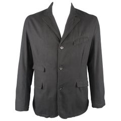 Men's ENGINEERED GARMENTS 44 Black Wool Flap Pocket Sport Jacket