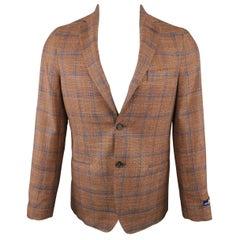 Men's EREDI PISANO 38 Brown & Navy Window Pane Wool / Silk Sport Coat
