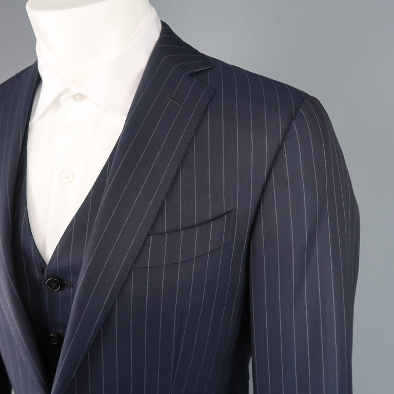 70b3bc9a Men's ERMENEGILDO ZEGNA Suit - 40 Regular Navy Wool Pinstripe 3 Piece Suit