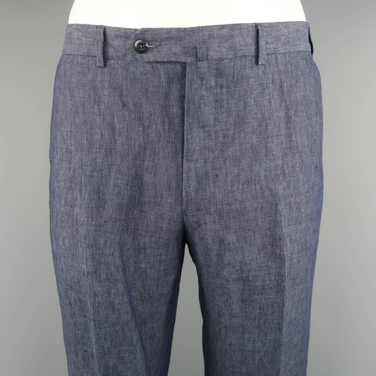 eb37cca2dee31 ERMENEGILDO ZEGNA dress pants come in navy blue linen with a flat front and  relaxed fit