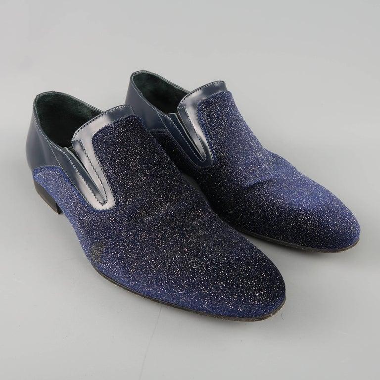 meet e5986 15b78 Men's EVEET Size 8 Navy Metallic Sparkle Velvet & Leather Loafers