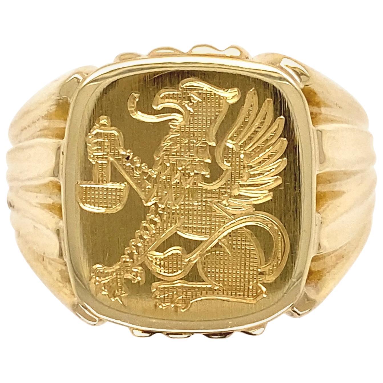 Men's Fine Engraved Griffin Crest 585 Gold Signet Ring Estate Fine Jewelry