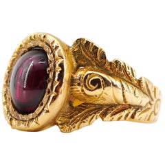 Men's Georgian Garnet Ring from France with Deeply Carved and Engraved Shoulders