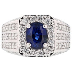 Men's GIA Certified 14 Karat Gold 4.00 Carat Oval Ceylon Sapphire Diamond Ring