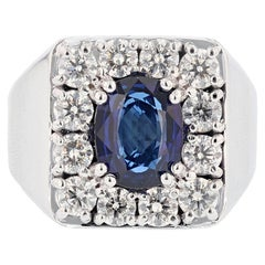 Men's GIA Certified 14 Karat Gold 4.23 Carat Cushion Cut Sapphire Diamond Ring