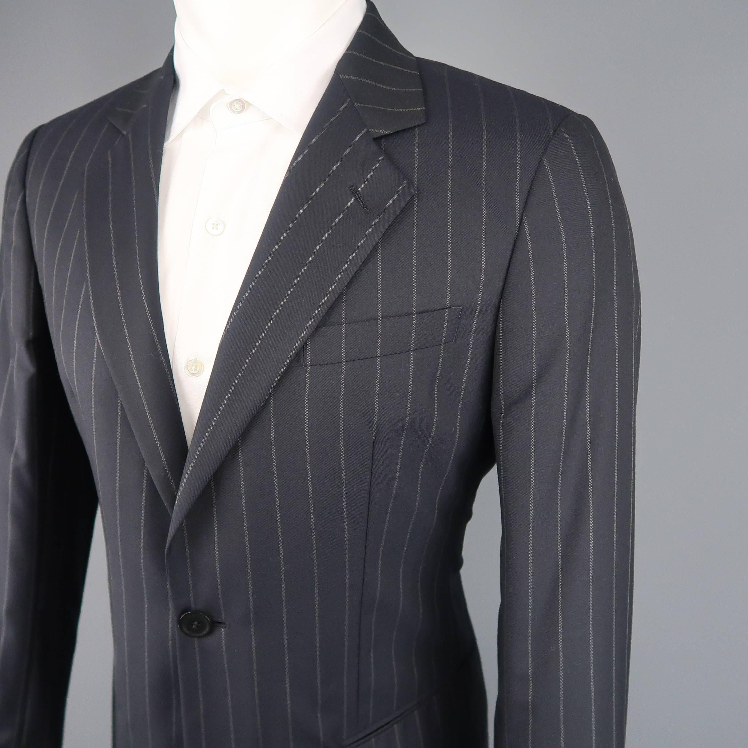 eb90df73780 Men s GIORGIO ARMANI 40 Regular Navy Stripe Wool Single Button Notch Lapel  Suit For Sale at 1stdibs