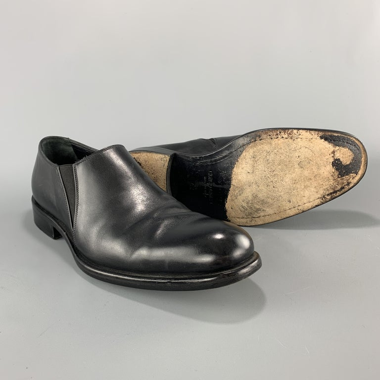 Men's GIORGIO ARMANI Size 9 Black Leather Slip On Loafer Dress Shoes In Good Condition For Sale In San Francisco, CA