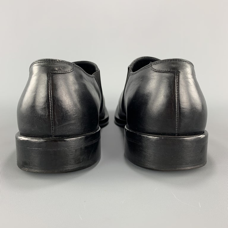 Men's GIORGIO ARMANI Size 9 Black Leather Slip On Loafer Dress Shoes For Sale 1