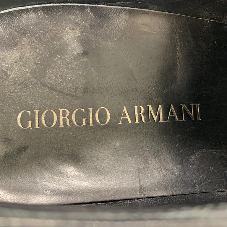 Men's GIORGIO ARMANI Size 9 Black Leather Slip On Loafer Dress Shoes For Sale 2