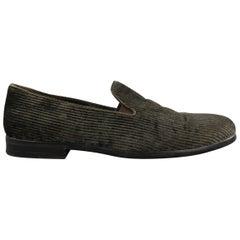 Men's GIORGIO ARMANI Size 9 Moss Green Corduroy Loafers